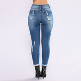 high waist jeans Women Denim Hole ripped jean for women Stretch Slim Sexy Pencil pantalon vaquero mujer plus size jeans