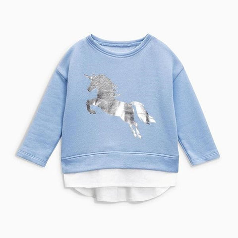 Children brand baby girl clothes autumn new girls cotton long sleeve O-neck unicorn blue t shirt C0111