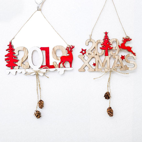 Christmas New Year Alphabet House Plate Christmas Hollow Decoration Door Hanging Pendant Christmas Ornaments Wooden Hanging