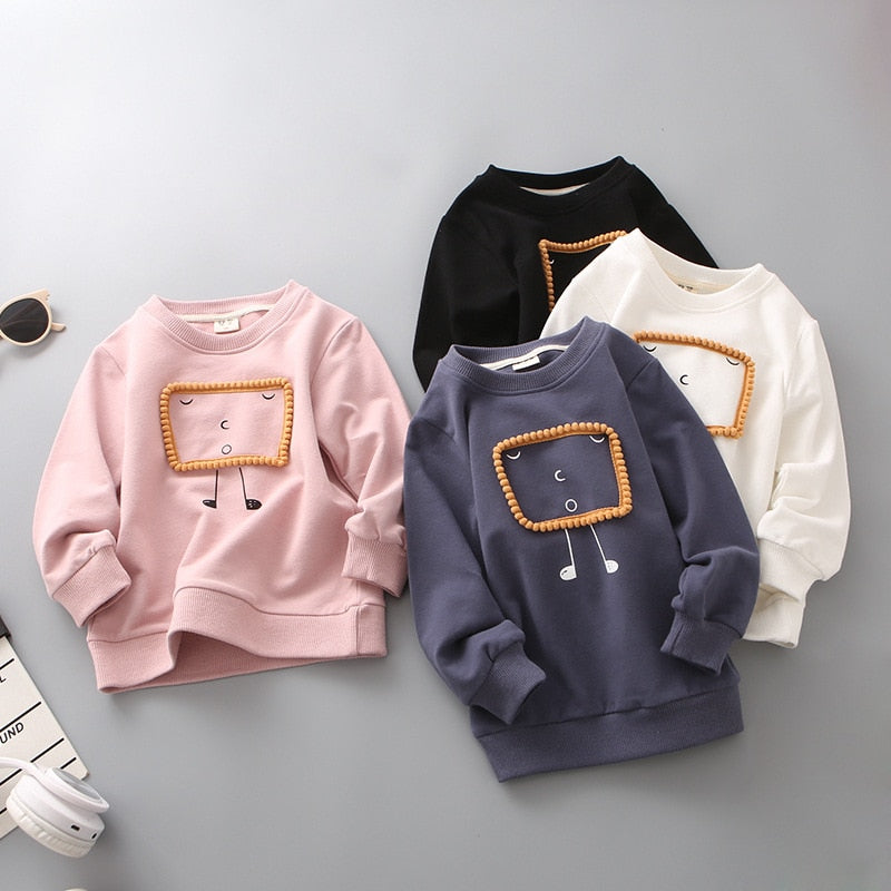 Boys Sweatshirt Cartoon Long Sleeve Autumn Shirts Solid White Basic Tops Children Pullover Tracksuit New Arrival