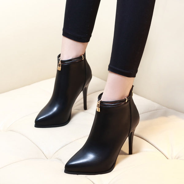Pointed Toe Sexy High Heels Ankle Boots For Women Autumn Spring Fashion Party Dress Thin Heel Short Boots Shoes CH-A0010