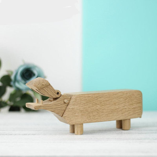 Nordic Solid Oak Wood Hippo Figurines Children Room Decoration And Toys Office Supplies Pen Holder Home Interior Decor Ornaments