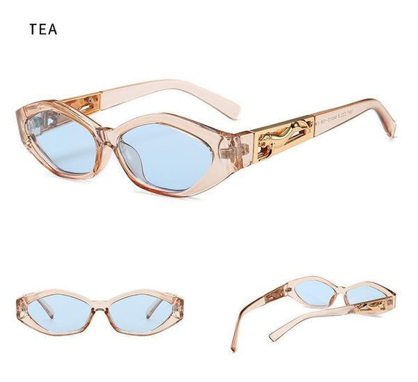 Women Vintage Modern Golden Jumping Leopard Slim Sunglasses Retro Diamond Shape Brand Design Sun Glasses Oculos De Sol