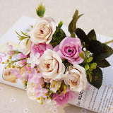 13heads silk roses Bride bouquet Wedding christmas decoration for home vase ornamental flowerpot artificial flowers scrapbooking