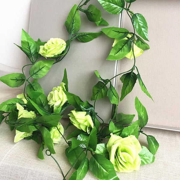 250CM/lot Silk Roses Ivy Vine with Green Leaves For Home Wedding Decoration Fake leaf diy Hanging Garland Artificial Flowers