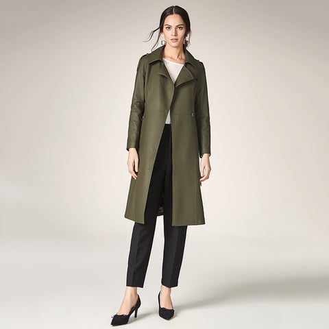 Women Trench New Arrive Turn-down Collar Causal Trench Coat For Women Long Genuine Leather Trench with Belt