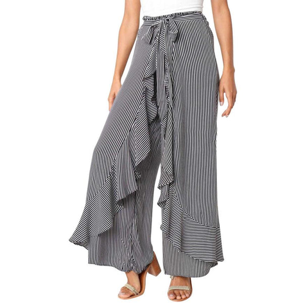Woman jeans Ladies Summer Striped Wide Leg High Waist Pants Casual Long Trousers