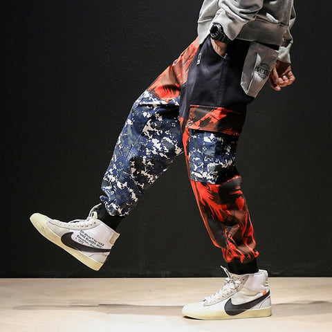 New Cotton Hip Hop Sweatpants Japanese tooling camouflage pants male tide loose sports beam pants