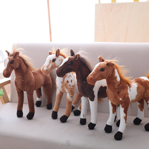 30-60cm Simulation Horse Plush Toys Cute Staffed Animal Zebra Doll Soft Realistic Horse Toy Kids Birthday Gift Home Decoration