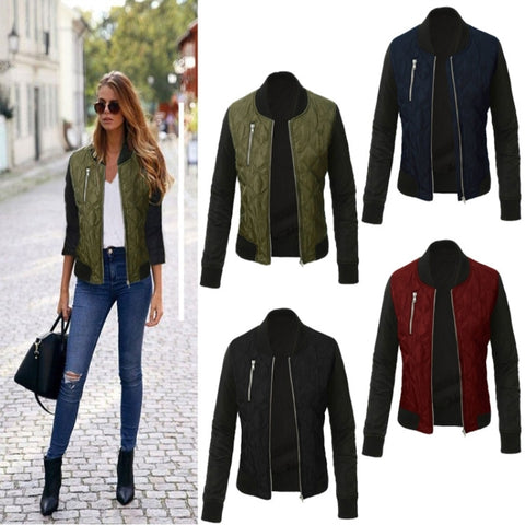 Autumn Winter Leisure Fashion Solid Women  Jacket O-neck Zipper Stitching Quilted  Bomber jacket 2018 New Women Coats