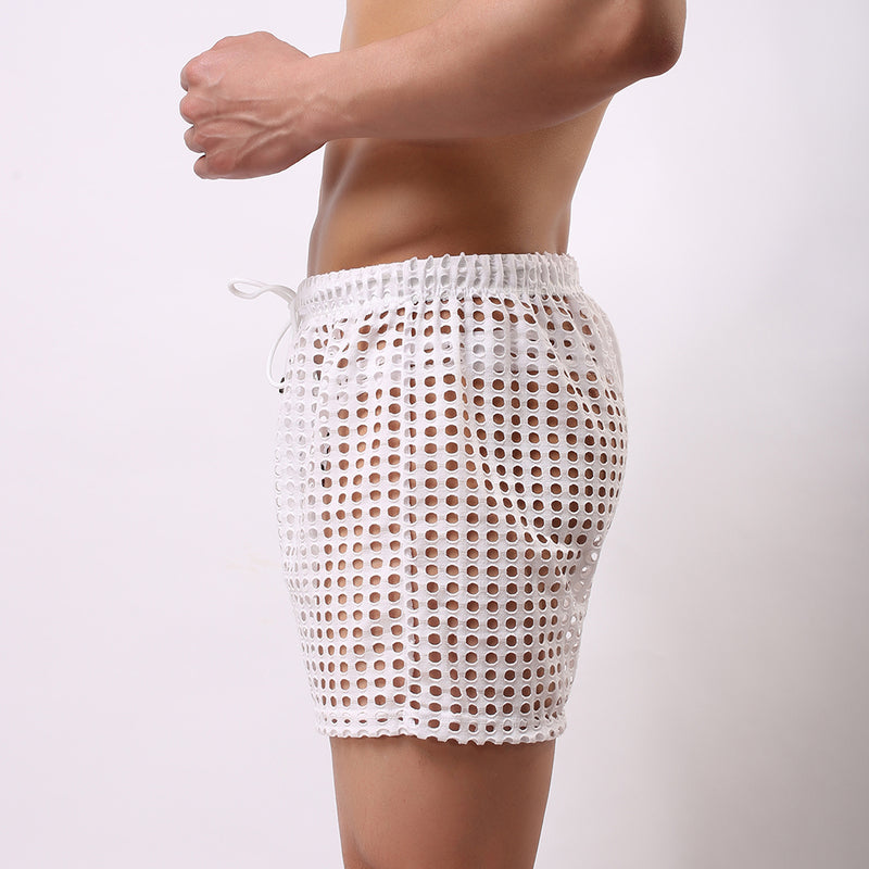Men's Casual Shorts Men's Fashion Style Breathable Shorts Sexy Hollow Mesh Shorts Men's Short Pants