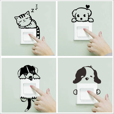 DIY Funny Cute Sleeping Cat Dog Switch Stickers Wall Stickers Decal Home Decoration Bedroom Living Room Parlor Decoration
