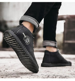 New Fashion Leather Shoes Men Full Hand Tailor Vintage Sneakers Huarache Moccasins Non-slip Super Hot Flats Black Big Sizes