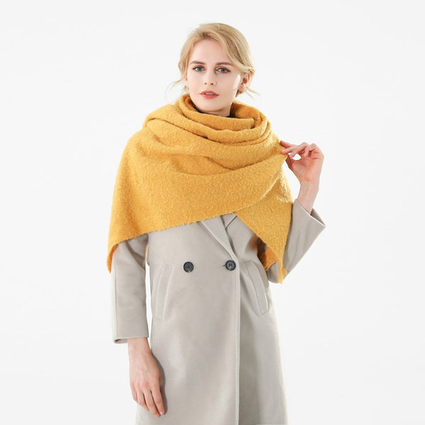 Winfox New Brand Fashion Winter Yellow Solid Color Cashmere Blanket Scarf For Womens Ladies