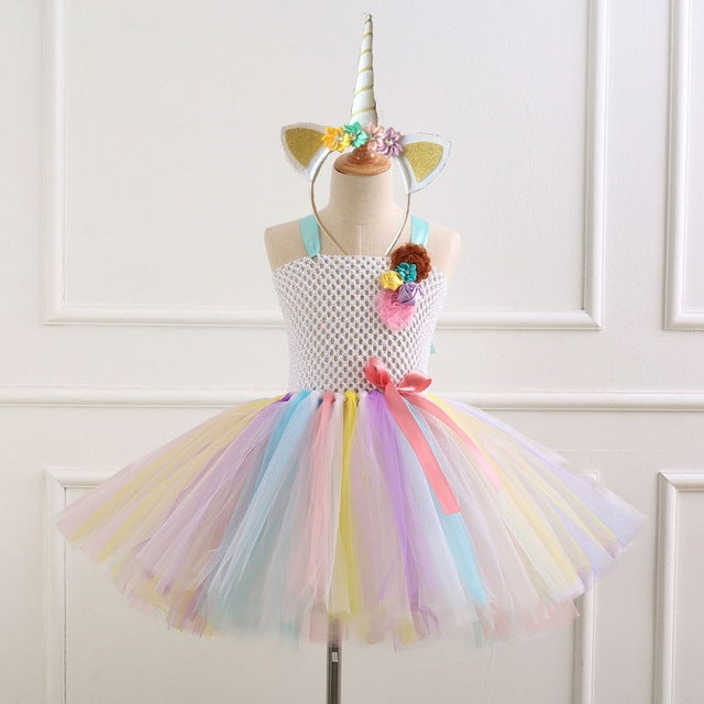 ... Flower Girls Tutu Dress with Headband Christmas Halloween Rainbow Pony  Unicorn Costume Girls Kids Birthday Party ... 7518e735bc7f