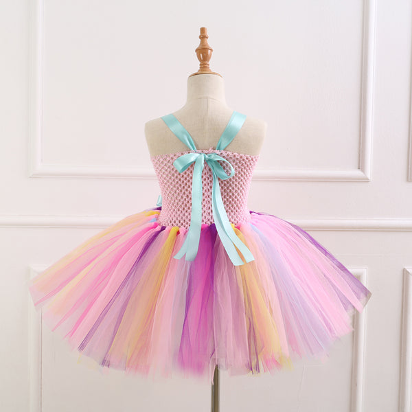 Flower Girls Tutu Dress with Headband Christmas Halloween Rainbow Pony Unicorn Costume Girls Kids Birthday Party Dress Up 2-12Y