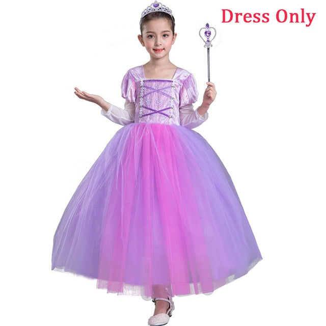 1e4760ecd496 ... Costume Girls Elegant Rapunzel Tutu Dress Children's Party Vestidos.  JOHNKART.COM