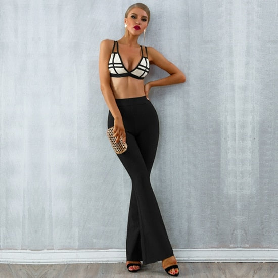 New Summer Bandage Sets Women Dress Vestido Striped Tops&Pant 2 Two Pieces Set Night Out Celebrity Evening Party Set