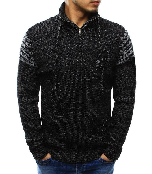 Sweater Pullover Men Male Brand Casual Slim Sweaters Men High Quality Zipper Holes Sweater Knitted Hedging Men'S Sweater