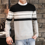 Casual Sweater Men O-Neck Striped Slim Fit Men Long Sleeve Patchwork Male Pollover Sweater Thin Clothes agasalho masc