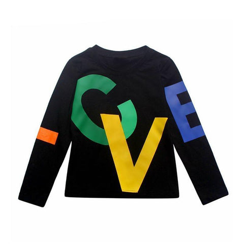 90-150cm Black T-Shirt Children Tops Letter Kids Clothes Long Sleeve T Shirt Toddler Boys Spring Clothing Costume