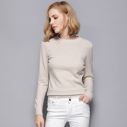 Women's Cashmere Elastic Autumn Sweaters and Pullovers Wool Sweater Slim Tight Bottoming Knitted Pullover