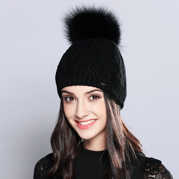 Beanie For Woman Winter Hats Elegant Wool Knitted Natural Raccoon Fur Pom Poms Stripe Hat Female Skullies Beanies  #MZ710B