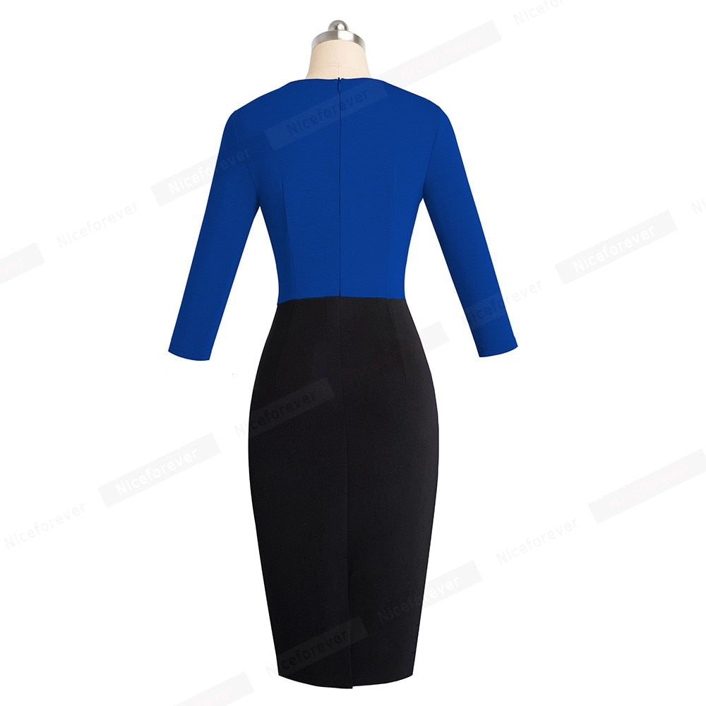 d17788a8506 ... Nice-forever Vintage Elegant Contrast Color Patchwork Wear to Work  vestidos Business Party Office Women ...