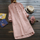 Plus Size Women Shirt Dress Long Sleeve Mandarin Collar Pockets Buttons Mini Vestido 2018 Summer Casual Long Tunic Top