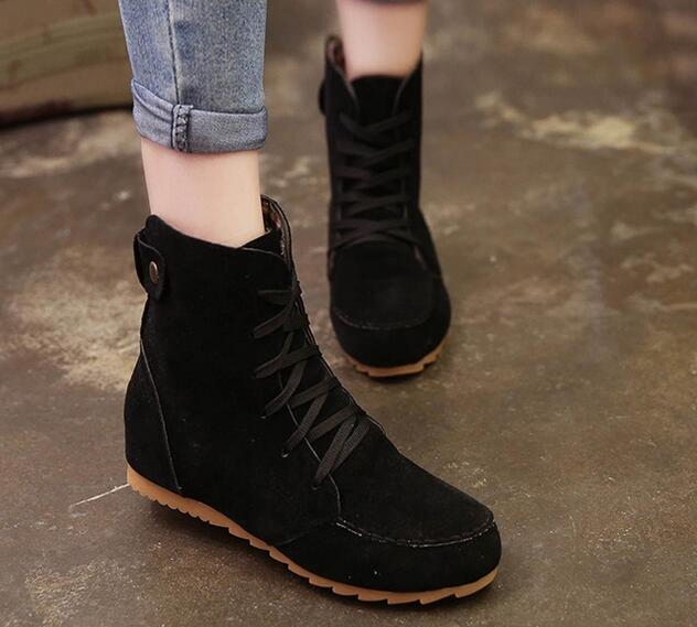74906d7449f1 Ladies Boots Round Toe Flat Shoes Martin boots Woman Boots Solid Lace
