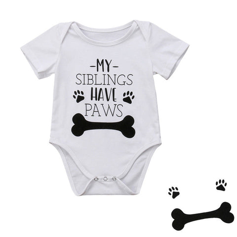 New Infant Baby Boy Clothes Girl Babygrows Jumpsuit Romper My Siblings Have Paws Baby Clothes Unisex Baby Rompers