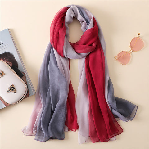 Women's Summer Scarf Plain Ombre Silk Shawl Soft Thin Gradient Hijab Snood Oversized Bandana Beach Cover-ups Foulard Sjaal