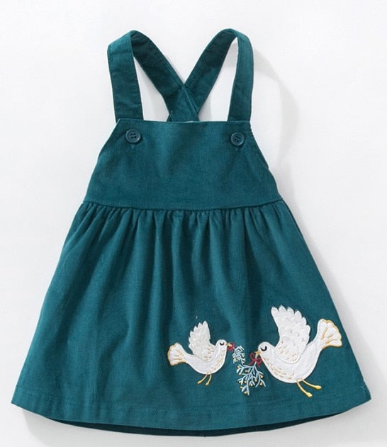 Brand clothes autumn baby girls clothes Cotton flower print sundress girl animal sleeveless dresses