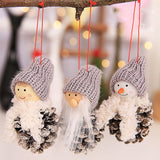 New Santa Claus Christmas Hanging Ornaments Pine Cone Xmas Doll Gift 3Pcs/Sets Tree Pendant Christmas Decorations For Home