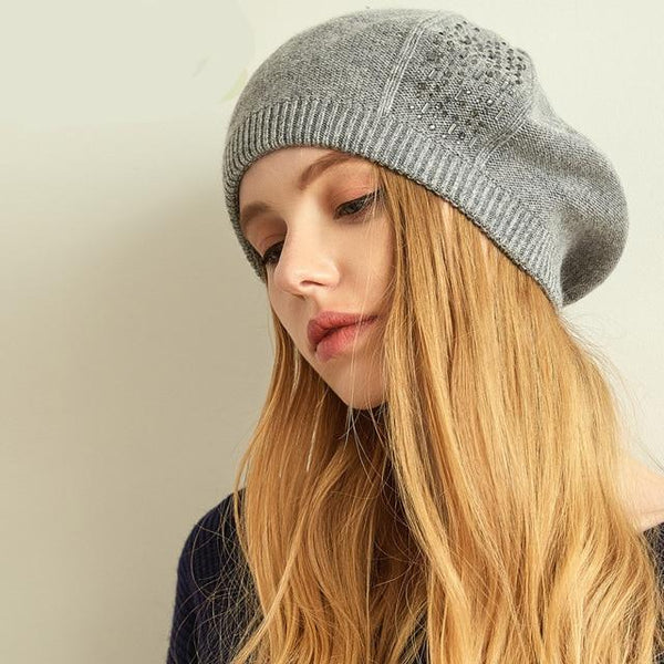 Women Beret Cotton Wool Brand New Knitted Fashion Diamond Autumn Winter Hats for Women Caps