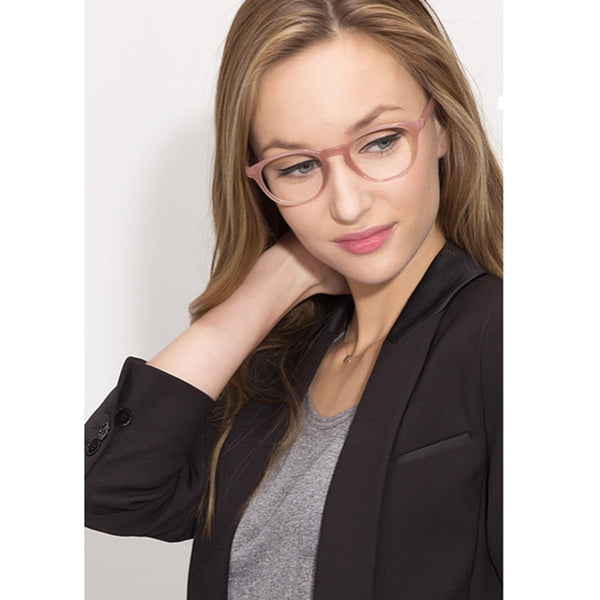 Pink Semi-transparent Acetate eye glasses frames for women Oval Shaped Optical Female Spectacle Glasses Oculos gafas Frame A1