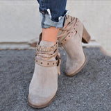 Buckle Strap Women Ankle Boots Casual Platform Shoes Woman High Heels Western Boots Slip On Winter Women Shoes XWX6884