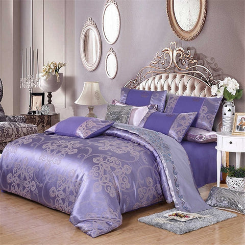 Comforter Bedding Sets Tencel Silk Luxury Duvet Cover Bed Sheet Hot Sale Queen King Double Blue Jacquard Bed Linens Set