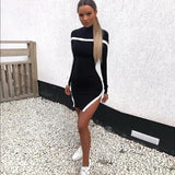 Autumn Sweater Dress Black O-Neck Long Sleeve Sweater Winter Clothes Women Striped Long Pullover sueter mujer