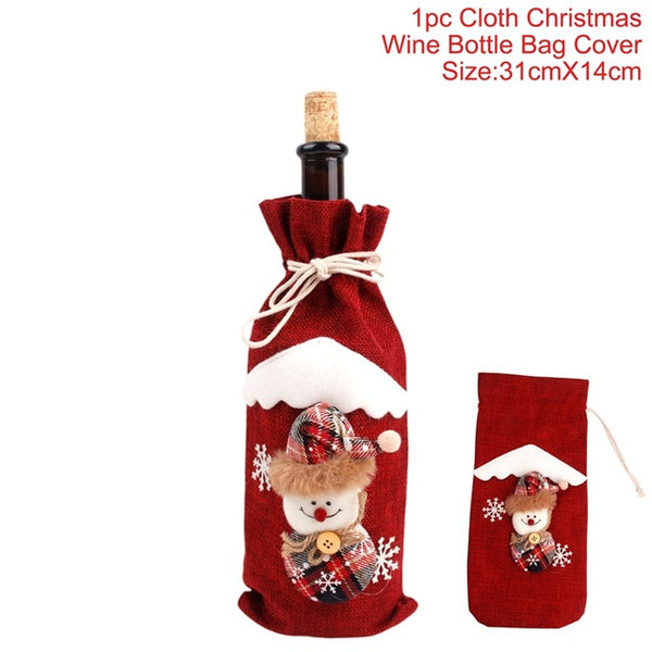 Christmas Decorations for Home Santa Claus Bottle Cover Snowman Stocking Gift Holders Xmas Navidad Decor New Year