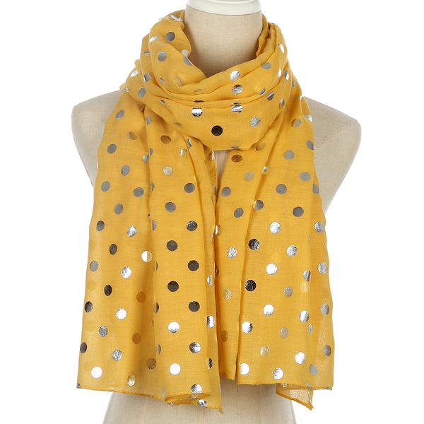 New Fashion Shiny  Foil Sliver Yellow Dot Scarf For Womens