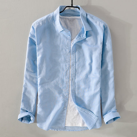 New sky blue shirt men linen solid summer and autumn long sleeve shirt mens cotton square collar shirts male chemise