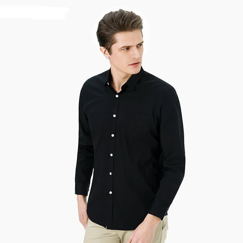 Autumn Vintage Black Oxford Shirts Long Sleeve Mens Dress Shirts 100% Cotton Men Blouse Retro Style Casual Shirts