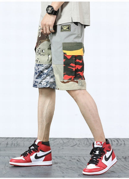 Summer Patchwork Camouflage Military Mens Cargo Shorts Camo Hip Hop Streetwear Cotton Multi Pockets Loose Men Shorts