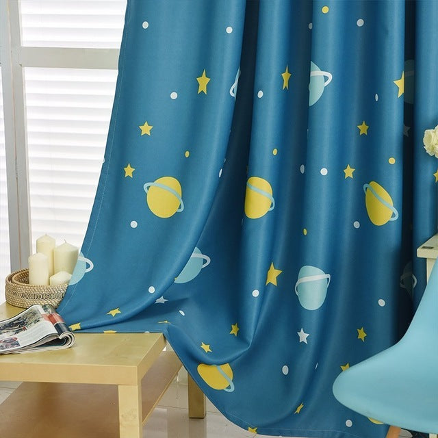Blue Planet Star Cartoon Window Blackout Curtains For ...