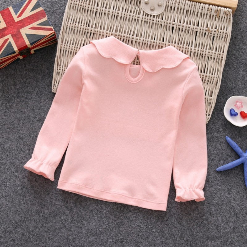 Baby Girls Shirt Long Sleeve T-shirt Cotton Casual Princess Toddler Solid Tops Blouse
