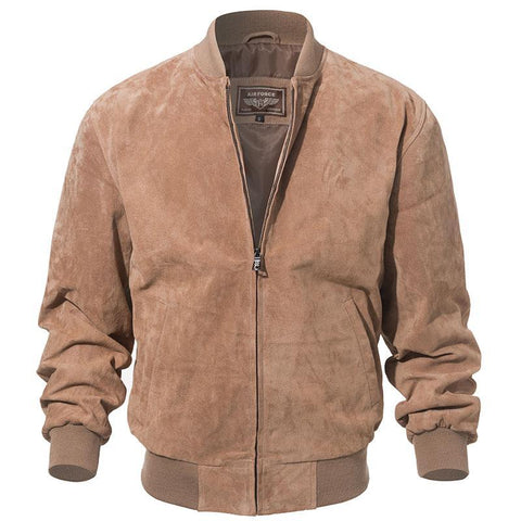 Men Classic Real Pigskin Coat Genuine Baseball Bomber Leather Jacket