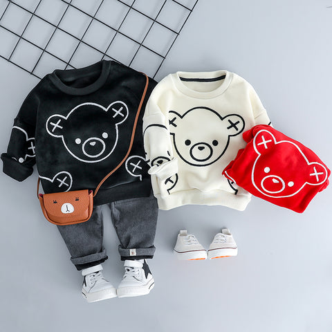 Baby Girl Boy Clothing Sets Autumn Winter Plush Infant Clothes Suits Cartoon Children Kids Casual Coatume