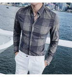 Luxury Big Plaid Shirt Men Autumn New Long Sleeve Camisa Social Business Casual Camiseta Masculina Camicia Uomo