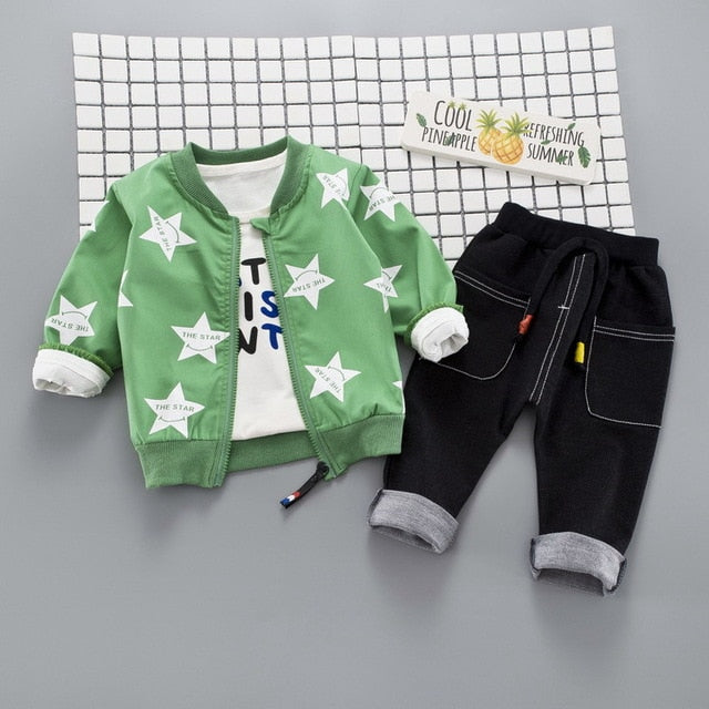 Autumn Baby Girls Boys Clothing Sets Infant Clothes Suits Star Coats T Shirt Pants Casual Kid Child Clothes Suits